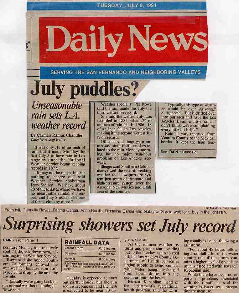 Daily News article about record breaking rain